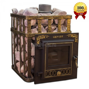 Чугунная дровяная печь для бани ПБ-03МС Гефест